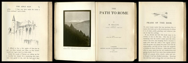 The Title Page and some of Belloc's sketches in The Path to Rome