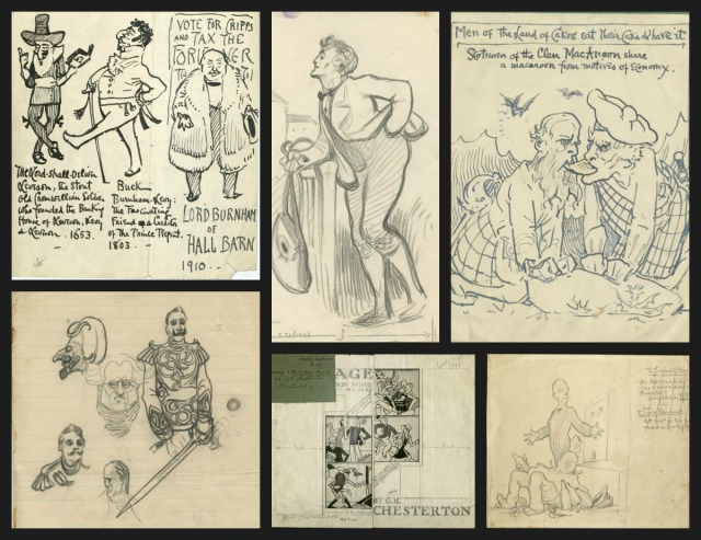 A variety of sketches by G.K. Chesterton and illustrations for articles written by Chesterton.