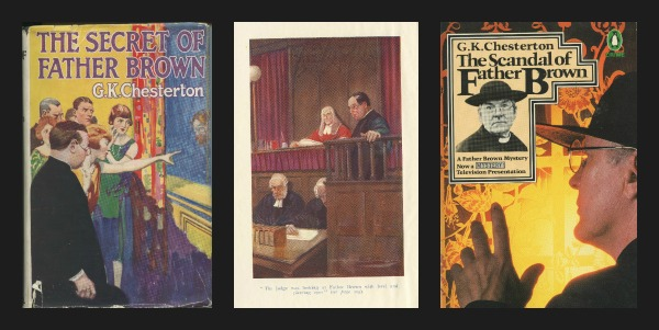 The covers and title page illustration from from several of the Fr. Brown stories in our collection.
