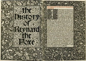 Title page from The History of Reynard the Foxe, PT5584 .C3 1892 Fine Print, John J. Burns Library, Boston College.