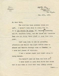 A letter from Maurice Baring sent on May 13th, 1939 to Enid Bagnold. It discusses a number of things that have occured since her recent visit. While this one is of a more personal nature, they span a variety of topics and purposes. They are arranged chronologically in our collection.