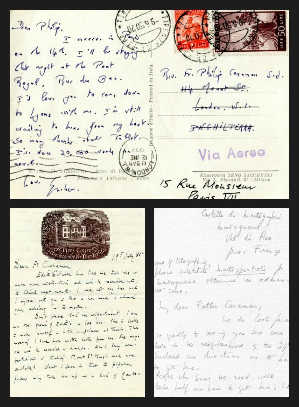 A few of the numerous laters exchanged by Fr. Philip Caraman and contemporary Catholic authors. Starting at the top and going clockwise: A Post Card from Graham Green (MS1998-30, Box 10-2, Folder 3), a letter from Dame Edith Sitwell (MS1998-30, Box 11-1, Folder 1), and a letter from Evelyn Waugh (MS1998-30, Box 12-1, Folder 1). Philip Caraman, S.J. Collection, John J. Burns Library, Boston College.