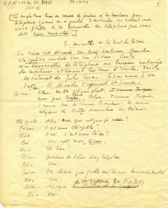 A hand written and autographed manuscript of Three Minutes, or the Death of Caesar in French, the only manuscript by Baring in our collection.
