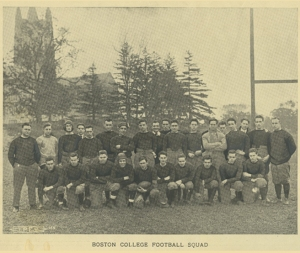 This 1915 football team, posing with Gasson Hall in the background, was the first to play on Alumni Field, originally located where McElroy Commons now stands
