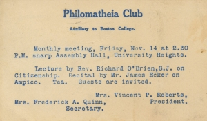 Announcement of the club's monthly meeting, including not just tea, but also a lecture from a Jesuit on citizenship, November 1932-1935