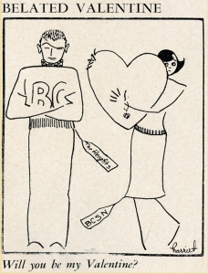 A cartoon featured in the Nursing School's newspaper, The Co-Edition. A girl extends her heart to the stubborn, unaccepting BC male, though his attitude does not deter her, 12 February 1958