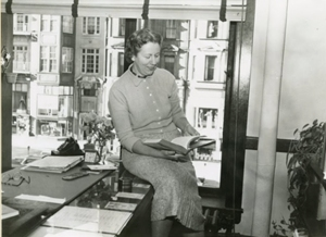 Rita Kelleher enjoying her hard-earned, spacious office in the School of Nursing's previous location on Newbury Street