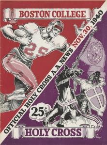 Program cover of the 1940 Boston College vs Holy Cross football game