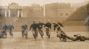 An action shot of the 1916 Boston College vs Holy Cross game