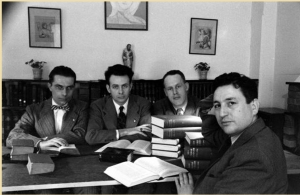 Left to right: ousted teachers Charles Ewaskio, James Walsh, David Supple, and Fahkri Maluf; LIFE Magazine, 2 May 1949