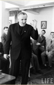 Feeney preaching at St. Benedict's. LIFE Magazine, 2 May 1949.