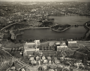Aerial shot on Easter Sunday 1938: Lawrence Basin, now known as Lower Campus, was a reservoir from 1867-1949