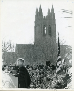 Kennedy speaks at the Centennial exercises just a few months before his assassination, 20 April 1963