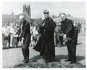 Carney Hall groundbreaking (left to right: Classics professor Joseph Maguire, Richard Cardinal Cushing, and Father Walsh)