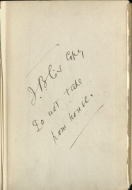 Inscription on flyleaf from On Tybee Knoll by James B. Connolly, John J. Burns Library, Boston College.