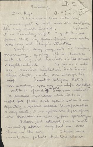 Letter, August 18, 1918, Box 5, Folder 1, Belloc Family Correspondence, MS.2007.007, John J. Burns Library, Boston College.