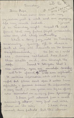 Letter, August 18, 1918, Box 5, Folder 1, Belloc Family Correspondence, MS.2007.007, John J. Burns Library, Boston College.