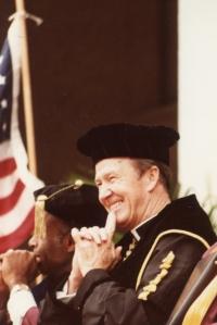 Fr. Monan at O'Neill Library Dedication, 1984