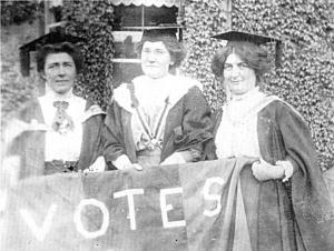 Photo of Hanna Sheehy Skeffington (left), Irish Women's Franchise League Rally.