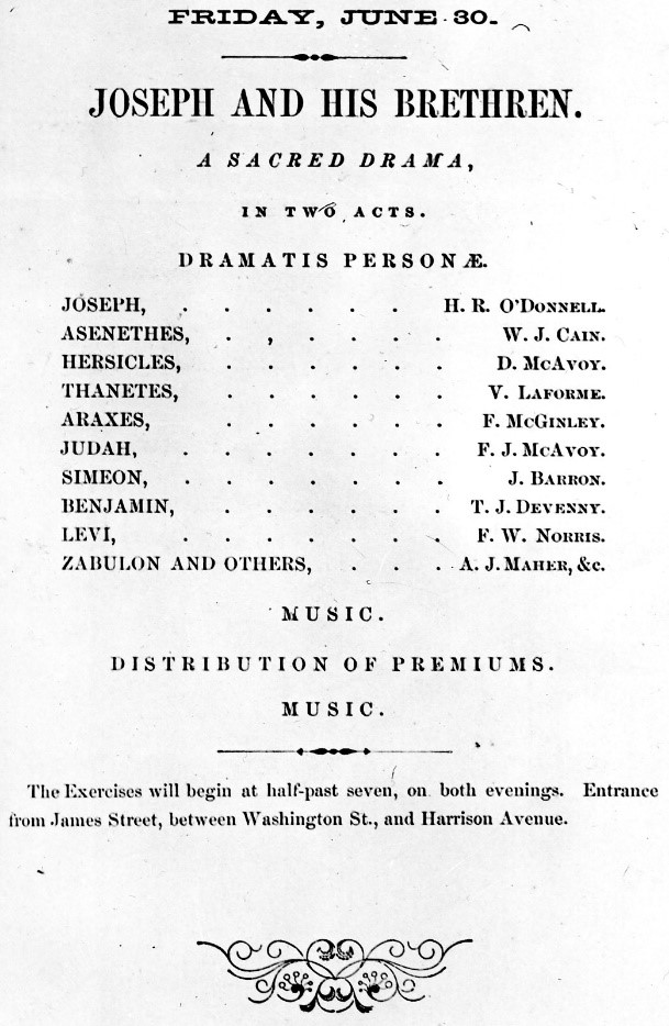 Joseph and His Brethren cast sheet