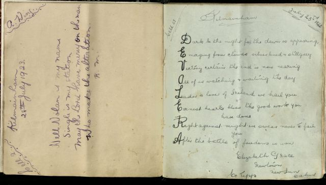 Autograph book of women prisoners held in Kilmainham Jail, July-October, 1923.i