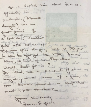 Letter from Nancy Campbell to Lily Yeats, July 25, 1914. Box 1, Folder 46, Boston College collection of Yeats family papers, MS.1986.054, John J. Burns Library, Boston College.
