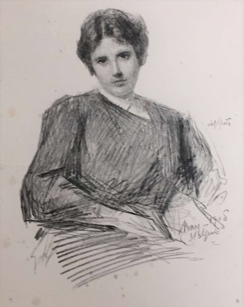 Reproduction of sketch of Lily Yeats drawn by her father, John Butler Yeats, in 1908. Box 10, Folder 3, Boston College collection of Yeats family papers, MS.1986.054, John J. Burns Library, Boston College.