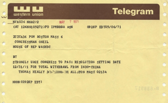 Image of a telegram to Tip O'Neill