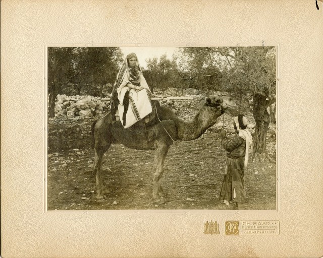 Photograph of writer and activist Mary Boyle O'Reilly on a camel