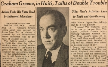 newspaper clipping of Graham Greene