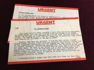 Photograph of telegrams Telegram concerning the arrest of Graham Greene's imposter in Assam