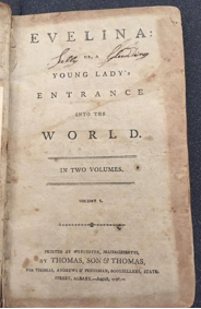 Image of Fanny Burney. Evelina, or, A young lady's entrance into the world. Worcester, Mass. : Thomas, Son & Thomas, 1796.