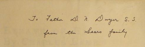Inscription on flyleaf in Essays of Elia, Charles Lamb, East Arurora NY: Roycrofters, 1899 PR 4861 .A1 1899 GENERAL
