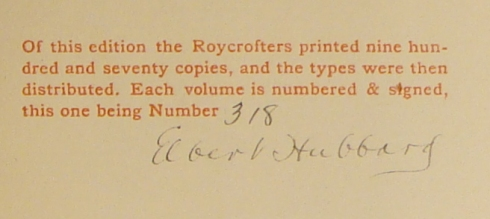 Limitation statement from Essays of Elia, Charles Lamb, East Arurora NY: Roycrofters, 1899 PR 4861 .A1 1899 GENERAL