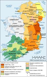 Map of Ireland, split into the 4 provinces
