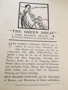 Advertisement for The Green Sheaf shop