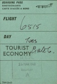 Boarding pass, Belfast