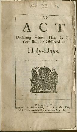 An Act Declaring Holy Days