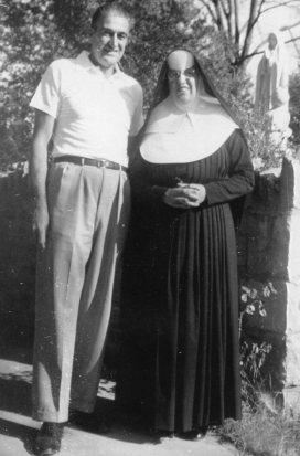 Joe Lamont and his sister, Sr. Mary Malachy, 1954.