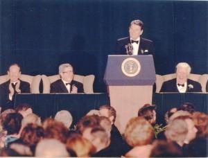 Monan, J. Donald at O'Neill Testimonial Dinner with Ronald Reagan, Garrett Fitzgerald, and Tip O'Neill,