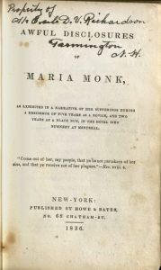 Title page of Awful Disclosures of Maria Monk