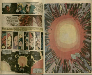 Depiction of intergalactic battle. Burns Library, Edward Kane Collection, Avengers Annual, 1977.