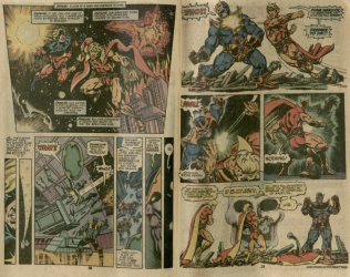 [Depiction of Adam Warlock and Captain America engaging in a deadly battle with Thanos.] Burns Library, Edward Kane Collection, Avengers Annual, 1977.