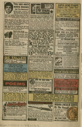 The above image depicts an advertisement page from Avengers Annual #7. Some ads featured involved fast ways to earn money, collector's stamps, and calls for poetry and song submissions. Burns Library, Edward Kane Collection, Avengers Annual, 1977.