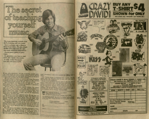 "The above image depicts two advertisements from Avengers Annual #7. (Left) is for a music course. (Right) is for ""Crazy David"" custom shirts, featuring logos of bands, cartoons, and catchphrases. Burns Library, Edward Kane Collection, Avengers Annual, 1977."