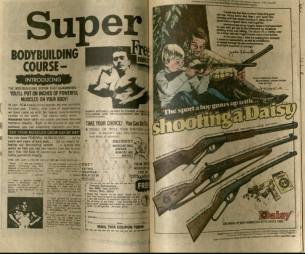 The above image depicts two advertisements from Avengers Annual #7. (Left) is for Super, a free body-building course. (Right) is for Daisy Outdoor Products, featuring Quarterback Johnny Unitas. Burns Library, Edward Kane Collection, Avengers Annual, 1977.