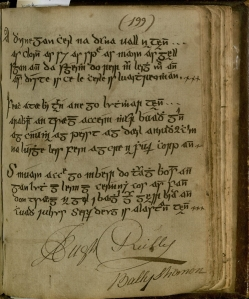 "Image of page 199 of the manuscript showing High Reilly's signature and ""Bally Shannon"""