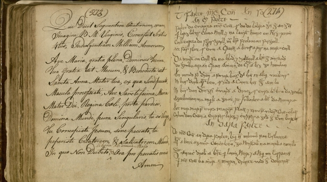 """Image of page 273 of the Gallagher Family Commonplace Book showing the """"Ave Maria"""" in Latin."""