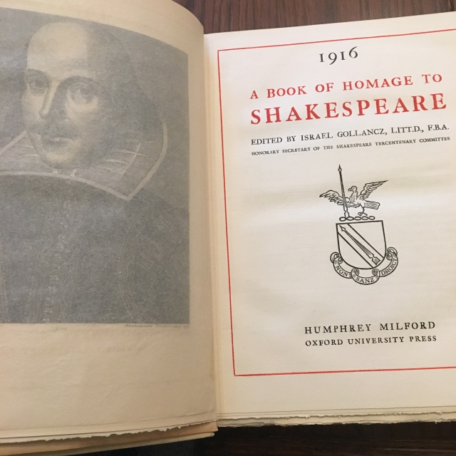 Title page and frontispiece of Shakespeare