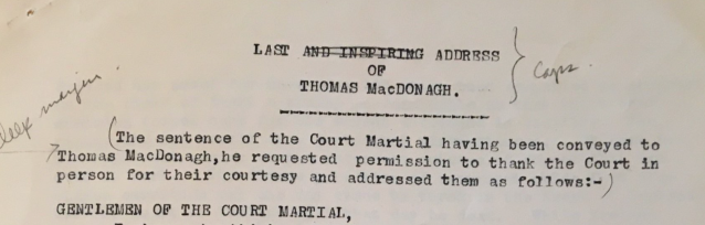 Typescript of Last Address of Thomas MacDonagh